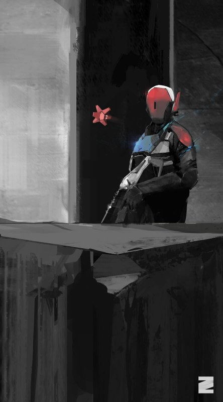 Image: a red-masked figure with a large rifle, a floating red polygonal figure floating in front of it. They stand in front of a silhoutted background.
