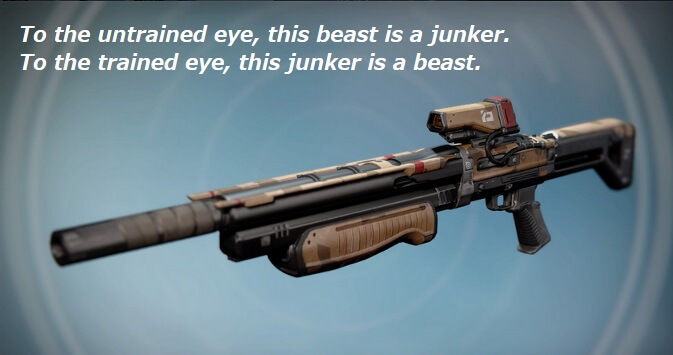 Image: a brown, somewhat dingy-looking rifle. Caption: To the untrained eye, this beast is a junker. To the trained eye, this junker is a beast.